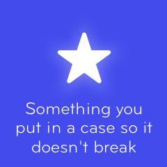 Something you put in a case so it doesn't break 94