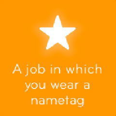 A job in which you wear a nametag 94