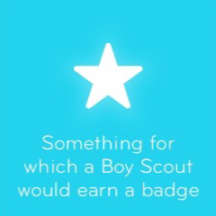 Something for which a Boy Scout would earn a badge 94