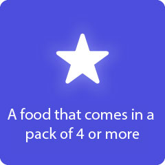 A food that comes in a pack of 4 or more 94